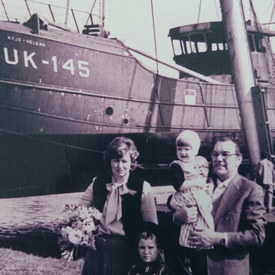Auke's grandfather, on his father's side, with his new boat (1967).